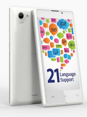 Lava Iris 465, 3G smartphone with 21 Indian Language support, 4.5? inch Display with Dual core processor, Android KitKat with 4 GB ROM + 512 MB RA, and 3.2 MP Rear Camera - White