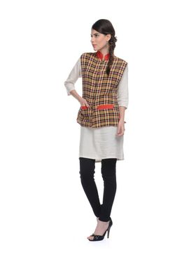 Lavennder Khadi-Cotton Check Print Nehru Jacket - Yellow