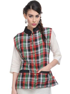 Lavennder Khadi-Cotton Check Print Nehru Jacket - Multicoloured