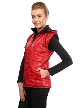 Lavennder Poly Synthetic Leather Plain Jacket - Red - 41031