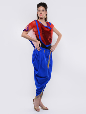 Lavennder Plain Crape Dhoti with Nett Dupatta - Royal Blue