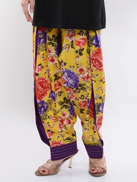 Lavennder Printed Cotton Box Pleated Salwar - Yellow
