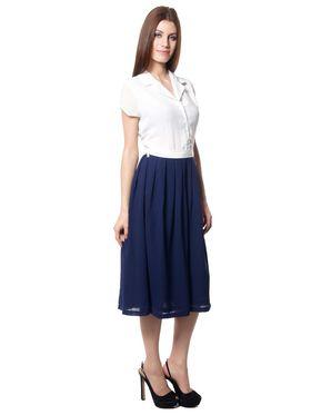 Meira Printed Chiffon Women's Dress - White _ MEWT-1126-B-White
