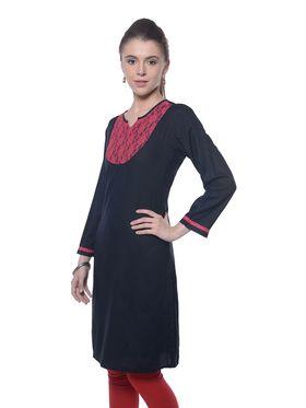 Meira Cotton Plain Kurti - Black - MEKUR-2022-Black