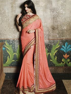 Zoom Fabrics Chiffon Embroidered Saree -N1609