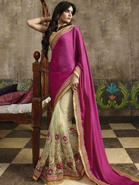 Zoom Fabrics Net Embroidered Saree -N1615