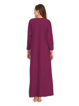 Clovia Blended Wool  Fleece Solid Nighty -NS0572P15