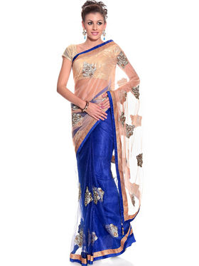 Nanda Silk Mills Chiffon Embroidered Saree - Blue - Blue_Pri13-01