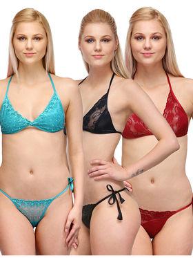 Set of 3 Oleva Solid Satin Innerwear -so08