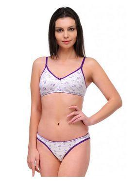 Oleva Cotton Printed Bikini Set - Purple