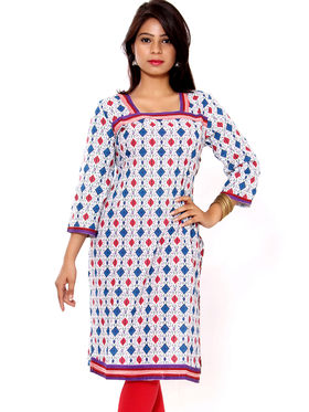 Set of 4 Priya Fashions Sanganeri & Jaipuri Cotton Printed Kurtis - PF102K4