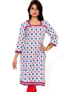 Set of 2 Priya Fashions Pure Cotton Jaipuri Printed Kurtis - PF109K2