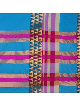 Nanda Silk Mills Handloom Turquoise Plain Cotton Silk Saree -nad05