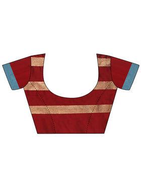 Nanda Silk Mills Handloom Red & Gold Plain Cotton Silk Saree -nad12