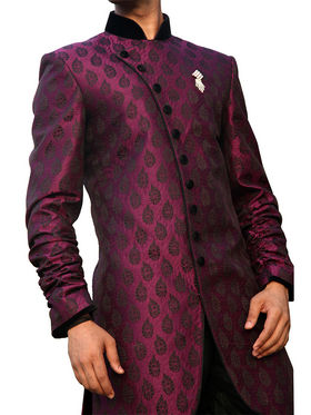 Runako Regular Fit Elegant Silk Brocade Sherwani For Men - Purple_RK1018