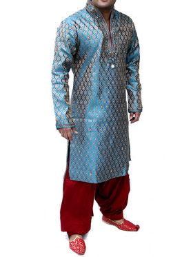 Runako Regular Fit Silk Brocade Kurta Pyjama For Men - Turqouise & Blue