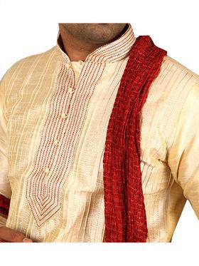 Runako Regular Fit Silk Brocade Kurta Pyjama For Men - Cream_RK4028