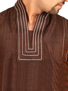 Runako Regular Fit Silk Brocade Kurta Pyjama For Men - Coffee