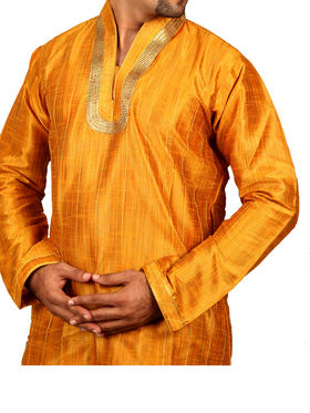 Runako Regular Fit Silk Brocade Kurta Pyjama For Men - Mustard