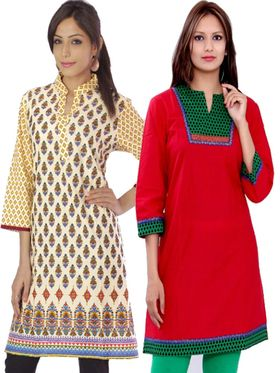 Combo of 2 Bazar Villa Cotton Printed Kurtis - BCE2030_42