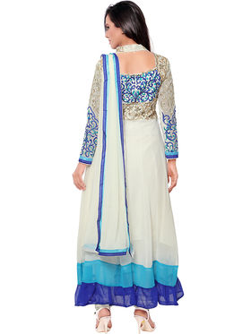 Florence Georgette Embroidered Semi-Stitched Dress Material  Sb-3160