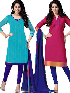 Khushali Fashion Chanderi & Khadi Embroidered Dress Material With Two Top -Sglon220007