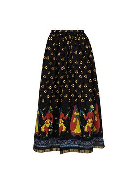 Amore Printed Cotton Skirt -Skv181Bk