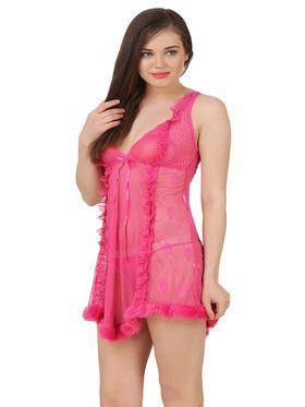 Fasense Power Net Solid Nightwear Babydoll Slip -SS074B2