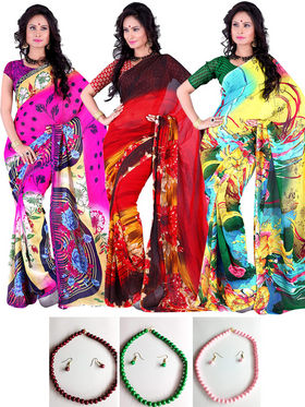Pack of 3 Georgette Printed Saree - Multicolour