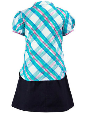 ShopperTree Navy Check Skirt With Top Set_ST-1377