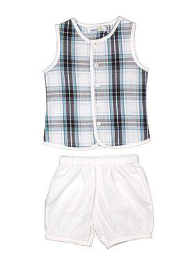 ShopperTree Checkered Blue Cotton Yarn Dyed Check Twin set-ST-1717