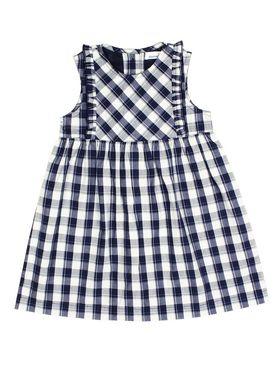 ShopperTree Checkered Navy Blue Yarn Dyed Cotton Dress-ST-1728