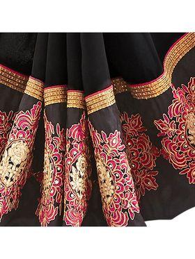 Khushali Fashion Embroidered Georgette Half & Half Saree_KF64