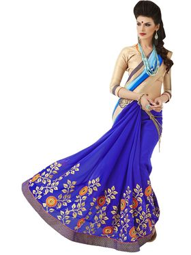 Khushali Fashion Embroidered Georgette Half & Half Saree_KF67