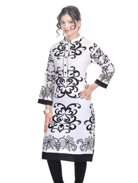 Shop Rajasthan 100% Pure Cotton Printed Kurti - White - SRE2230