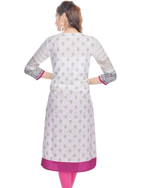 Shop Rajasthan 100% Pure Cotton Embroidered Kurti - White and Pink - SRE2278