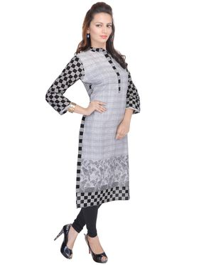Shop Rajasthan 100% Pure Cotton Printed Kurti - Grey - SRE2290