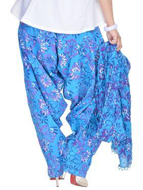 Shop Rajasthan 100% Pure Cotton Floral Print Patiala Salwar - Light Blue - SRI2007