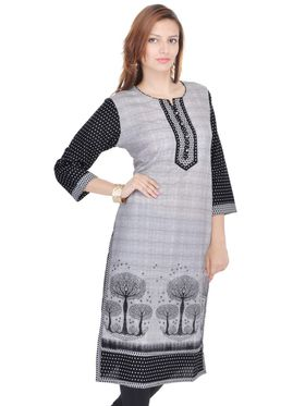 Shop Rajasthan 100% Pure Cotton Printed Kurti - Grey and Black - SRE2327