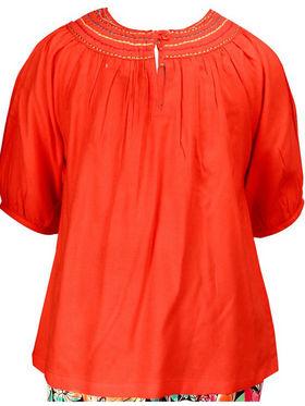 ShopperTree Orange Top with Printed Pyjama Set_ST-1383