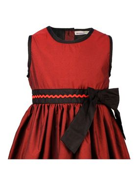 ShopperTree 100% POLYESTER Plain Girls Frock - Maroon