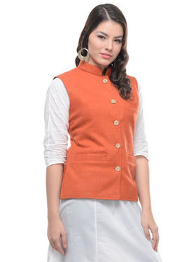 Buy Sobre Estilo Woolen Plain Nehru Jacket - Orange - WV0013288