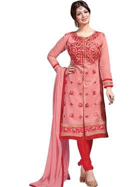 Thankar Semi Stitched  Chanderi Silk Embroidery Dress Material Tas308-6109