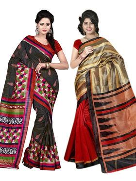 Pack of 2 Thankar Printed Bhagalpuri Saree -Tds137-217.218