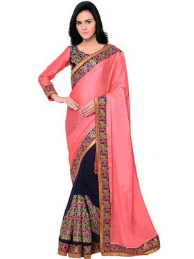 Triveni Embroidered Chiffon Faux Georgette Satin Saree -Tskt13209