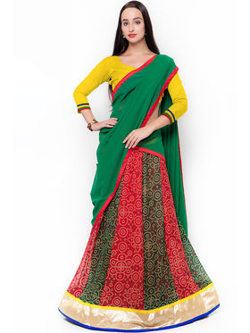Triveni Multi Colored Printed Faux Georgette Semi Stitched Lehenga Cholii_Ts13281