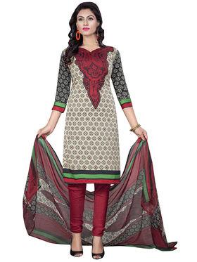 Triveni's Crape Printed Dress Material -TSLCSK9119