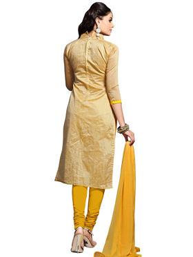 Triveni's Chanderi Cotton Embroidered Dress Material -TSMDESK1102