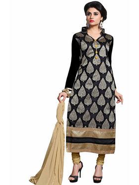 Triveni's Chanderi Cotton Embroidered Dress Material -TSMDESK1108