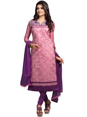 Triveni's Chanderi Cotton Embroidered Dress Material -TSMDESK1111